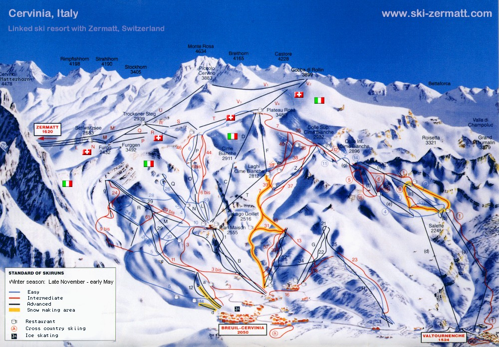 Cervinia Italy Ski map Piste map Trail map
