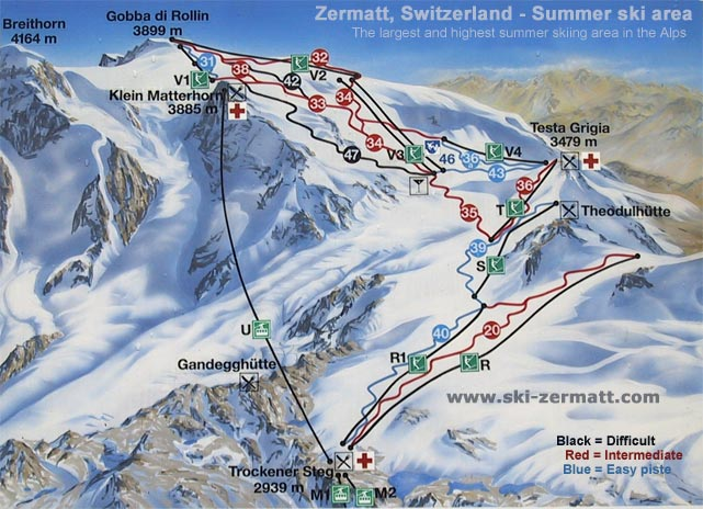 Zermatt Matterhorn Summer skiing and snowboarding on the glaciers
