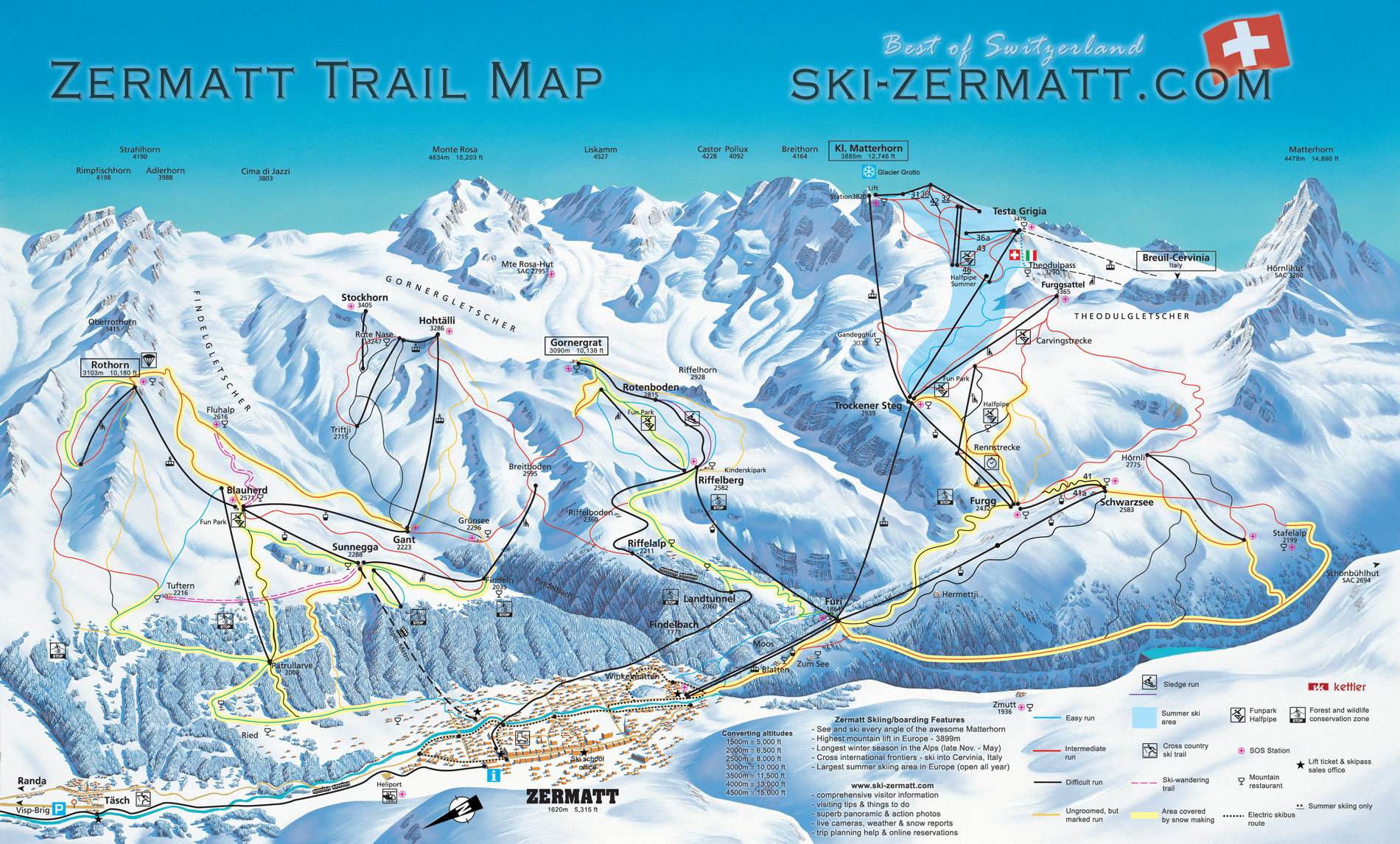 Zermatt Switzerland Ski map Piste map Trail map
